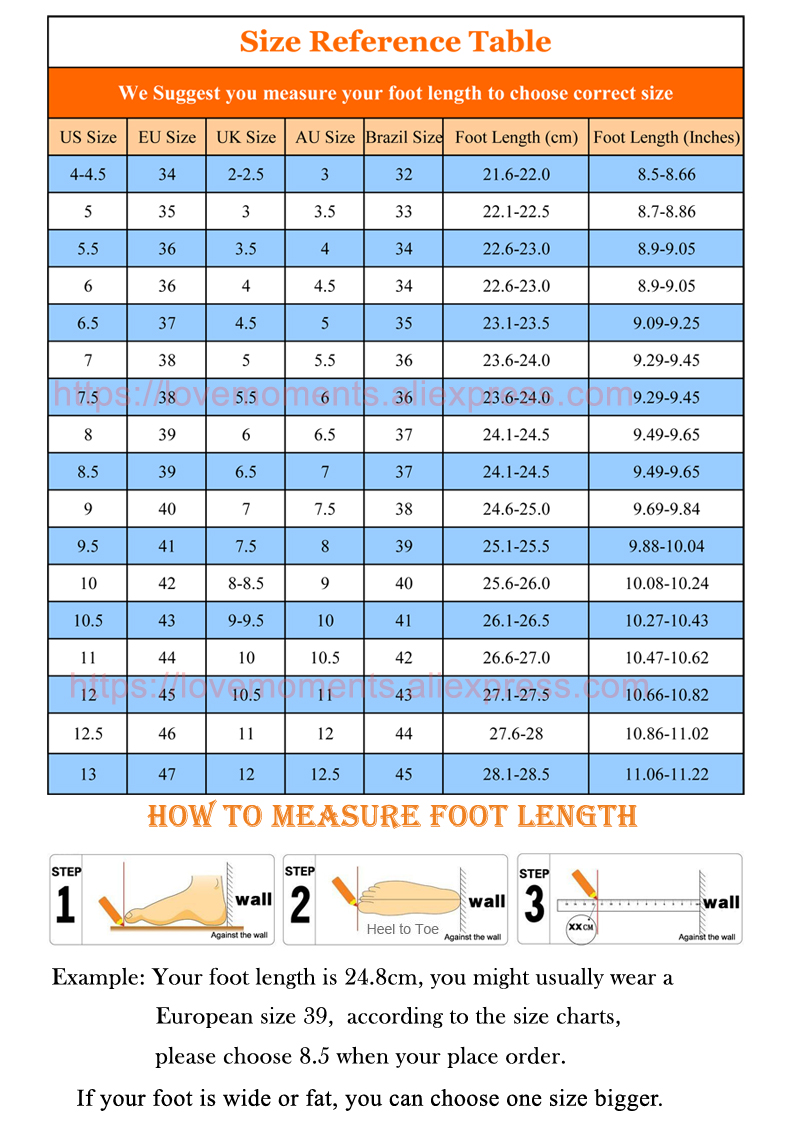Ali Xiuse Size Chart