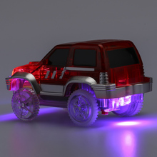 Children Toy Magic Flashing Track LED Car Light Up Race Cars Roller Glowing Race Track Electronics Rail Car Christmas Gifts(China)