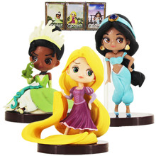 3pcs/lot 6-7cm Rapunzel Jasmine Tiana princess action figure model toys Tangled Q Posket Characters Princess and the Frog toys