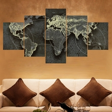 2017Promotion Canvas Black Painting World Map Posters Modular Wall Pictures For Living Room Unframed 5Pcs Hot Cuadros Decoration