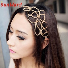 Hot marking New  New Hot Fashion Hollow Out Braided Gold Head Band Stretch Hair Accessories Girl D1217 Drop Shipping