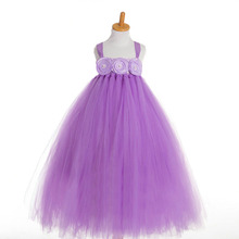 fashion high quality kids summer flowers toddler pageant gown lavender girl dresses size 4-12