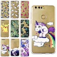Banana Leaves Hippo Rainbow Unicorn Horse Pokemons Case Cover For Huawei P8 lite P9 lite Honor 8 Clear Silicone Capa Capinha