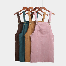 Spring Autumn Dress Women Korean Fashion Vintage Sundress College Wind Corduroy Loose Strap Vestidos Female Midi Dresses 7 Color(China)