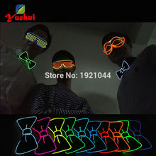 2017 Sound activated 10 Colors Fashion Cravat Glowing Flashing EL Bow Tie electronic DJ's LED bowTies for party ,bar,club, DJ(China)