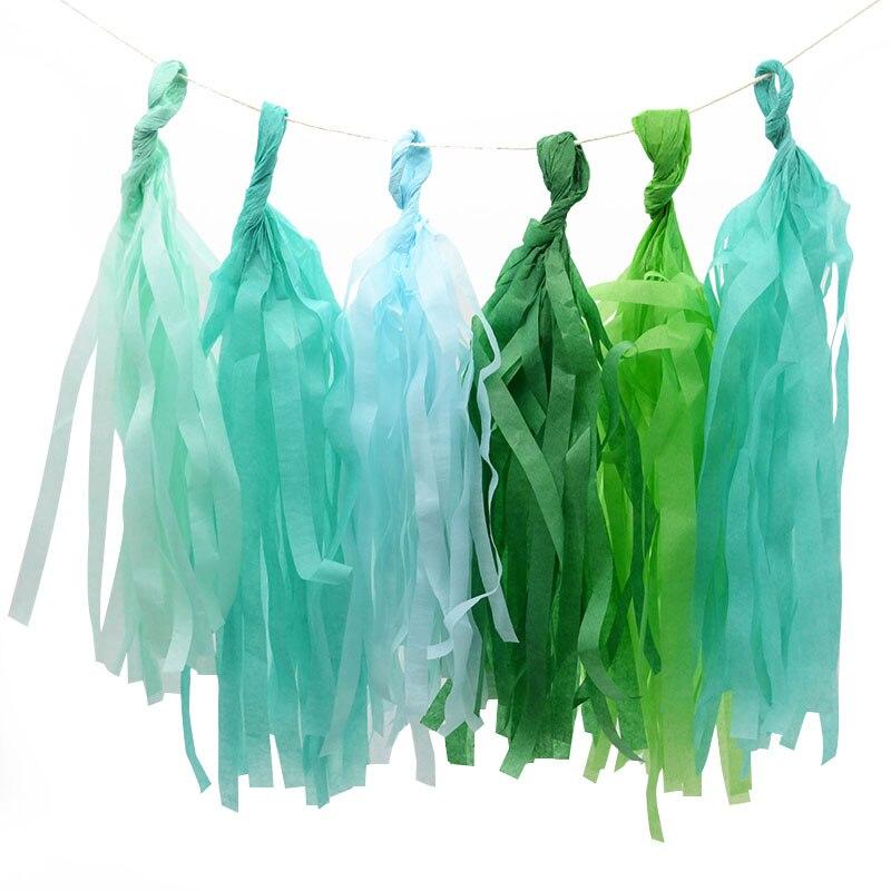 5pcs/lot  12cmx35cm Tissue Paper Tassel Garland Birthday Baby Shower Party Home Supplies New Year DIY Wedding Decoration 7Z