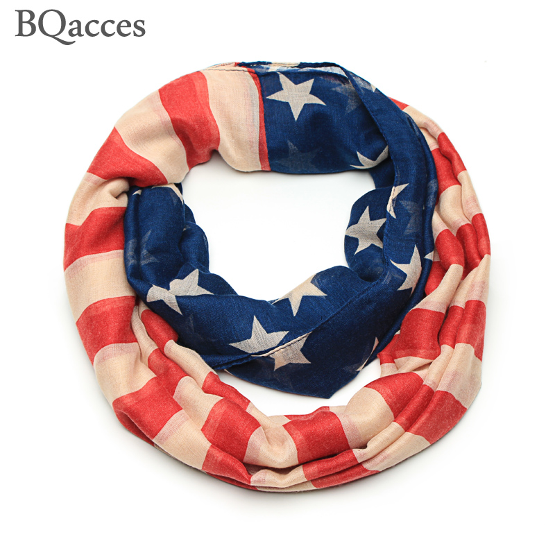 2016 New women America flag infinity scarf stars and stripes print cotton snood circle scarf neck warmer cowl collar lady hijab(China)