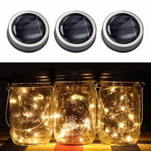 3pcs/lot Solar Mason Jar Lid Insert LED Fairy Mason Jar Solar Light for Glass Mason Jars and Garden Decor Solar String Lights(China)