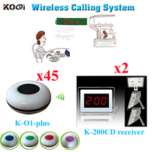 Wireless Calling System Most Cheap For Coffee Restaurant KTV With CE Certification( 2 display+ 45 waterproof buzzer bell )(China)
