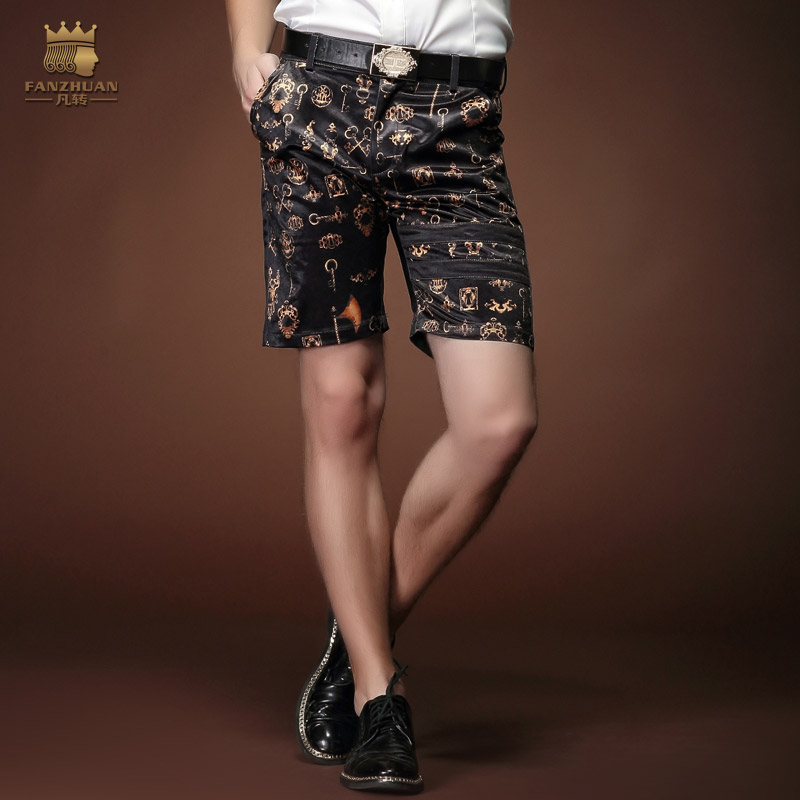 Free Shipping fashion casual Men's male New Summer personality Palace design slim floral shorts fivth 15907 loose On Sale