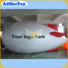 HOT 5m/16.4ft Long White Inflatable Airship/Blimp with red inflatable fins/Your different logos can be put on./DHL Free Shipping