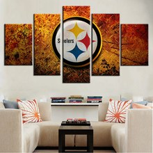 5 Piece UnFramed Painting American Football Pittsburgh Steelers Wall Art Customized and Wholesale Oil Print On Canvas Painting