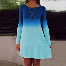 2017 New Hot Sea Blue Ocean Fashion Summer Dress Womens Long Sleeve  Tiered Cute Casual Loose Gradient Color Sequin Short Dress
