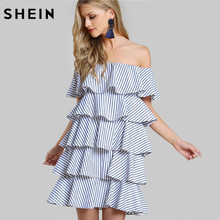 SHEIN Off the Shoulder Layered Pinstripe Dress Navy Striped Summer Short Sleeve A Line Dress Ladies Sexy Dresses