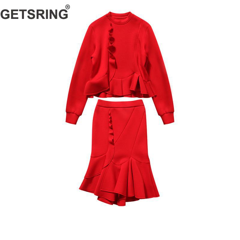GETSRING Women's Sets Hoodies Lotus Leaf Long Sleeved Shirt High Waist Mermaid Skirt 2 Piece Set Women Suit Lady Suit Autumn New