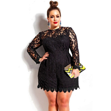 lady new lace coveralls 2016 Black Plus Size Long Sleeve Lace Romper autumn Jumpsuit 60599 body suits rompers overall for women(China)