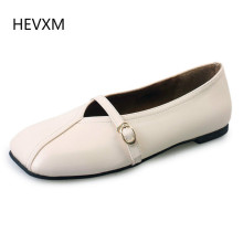 HEVXM Women's shoes 2017 spring new single shoes retro style flat flat shoes with women's buckle square head tide shoes