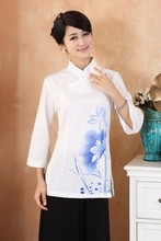 Free Shipping Cream Chinese Women's Linen Shirt Top water lily Size S M L XL XXL XXXL 2379-2