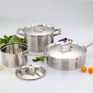 free shipping ss#304 stainless steel 3pots cookware set cooking pots and pans high quality cookware 6pcs set(China (Mainland))
