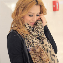 Noble Fashion Women's Long Soft Wrap Lady Shawl Silk Leopard Chiffon Scarf Cool