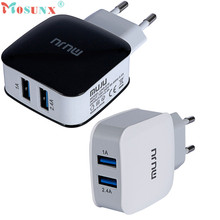 Factory Price Hot Selling MUJU UNS-619 5V 3.4A EU Plug USB Power Adapter 2 USB Ports For Phone Tablets  Free Shipping Feb21