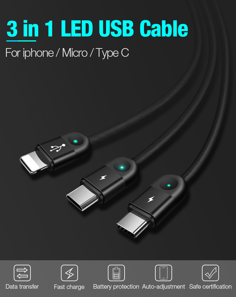 USB Charging Cable for Micro Type C USB Cable for iPhone