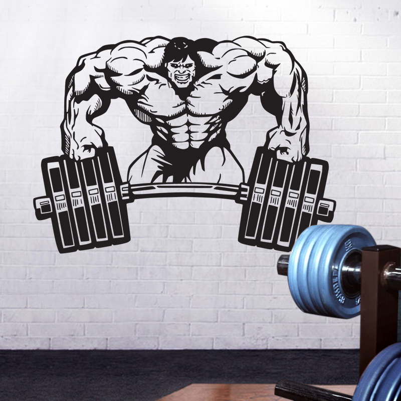 DCTAL Gym Name Sticker Fitness Crossfit Barbell Muscle Decal Body-building Posters Wall Decals Parede Decor Gym Sticker