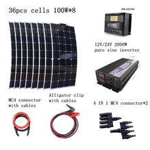 8pcs 100W Solar Panels Kit with 2000W Inverter 30A Controller Quick Connection Cables Emergency 800W Solar Power System(China)