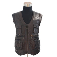 2015 New Men'S Waistcoat Genuine Leather Reporters Suit Multi-Pockets Quinquagenarian Men Cow Leather Vest Tops D073