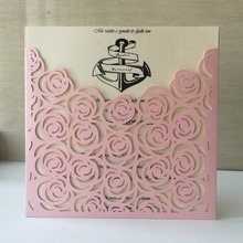 12Pcs/lot Pearl Paper Laser Cut Greeting Cards Handmade Vintage Pink ,White ,Green Rose Birthday Postcards DIY Thank You Cards(China)