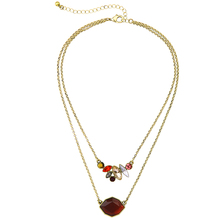 Hot New Factory Wholesale Personality Double-deck Irregular Wine Red Gem Best Friend Pendant Necklace(China)