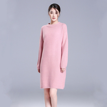 100% cashmere lady dresses spring/autumn/winter knitting dress slim-fitting O-neck long sleeves pullover dresses