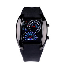 2016 New Fashion Aviation Turbo Dial Flash LED Watch Gift Mens Lady Sports Car Meter watch Quality Free Shipping