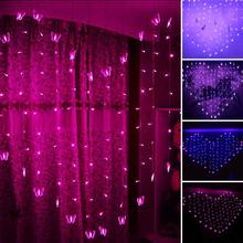 2*1.5m Heart Shape Christmas Lights 128 SMD Butterfly LED String Fairy Lights Holiday Wedding Decoration Curtain Lights