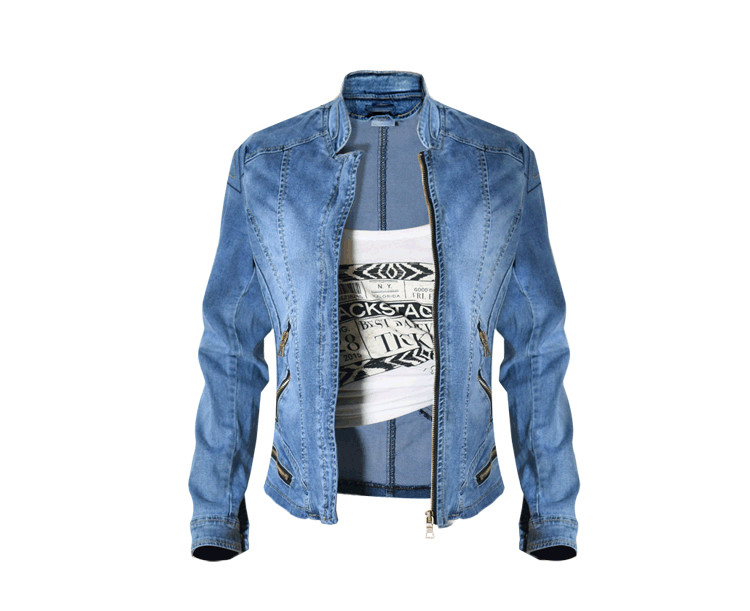 2017 New Hot Sale Popular Women Baseball Jackets Stretch Denim Jacket Multi-zipper Short Motor Style Chaqueta Female Denim Coats (8)