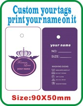 crown custom women cloth tags ,print your logo on tags 500PCS More style come into our shop J5(China)