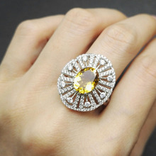 Tbj ,Natural yellow citrine  gemstone ring in 925 sterling silver ,classic design