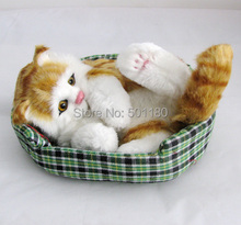 free shipping perfect handmade cat lifelike cat for home decor stuffed cat plush toys for birthday gift and decoration(China)
