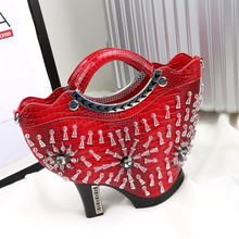 Luxury Handbag 2017 Fashion High heels Design Women PU Leather Bags Rhinestones Tote Lady Shoulder Bag Bolsas(China)