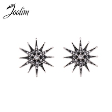 JOOLIM Jewelry Wholesale/2017 Black Blazer Starburst Stud Earring Vintage Earring Fashion Jewelry  Gift Free Shipping