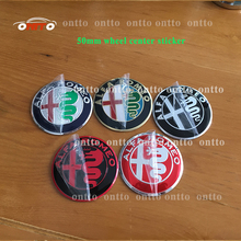 4pcs car styling Alfa Romeo 5.0cm 50mm color car Wheel Center Hub Cap and Wheel Dust-proof Badge emblem covers(China)