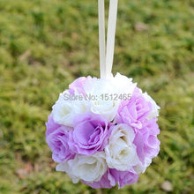 Free shipping, 20cm/8'' Ivory&light purple Silk Rose Kissing Ball Flower Pomander Bouquet Flower Ball Wedding Party Favors HQ10