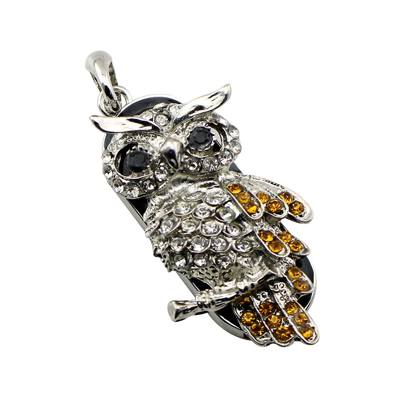 Animal USB Flash Drive Metal Diamond Owl Pendrive Nighthawk Pen Drive 4GB 8GB 16GB 32GB 64GB USB Memory Stick Gift With Necklace 17