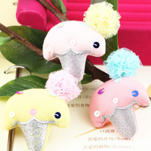 Free Shipping 30PCS Cartoon Fabric Woven Crochet Ice Cream Toy Doll with Chiffon Flowers for Girls Princess Hair Jewelry DIY(China)
