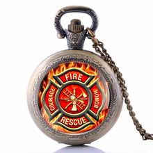 New Fashion art gift Firefighter Pocket Watch Necklace silver plated fire fighter jewelry Glass Cabochon Dome Pendant