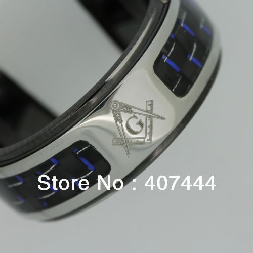 s Jewelry USA Hot Sales 8MM Black Stainless Steel Light Catcher Masonic Ring US SIZE 10-12  -  E&C Super Fashion Store (-ratail Store store)