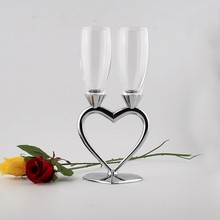 170ml fashion high quality toasting glasses set heart shape crystal champagne flutes metal setm for love gift and wedding goblet