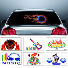 Optional LED Flash Sound Activated Equalizer Car Sticker Music Rhythm Light 1set Fire