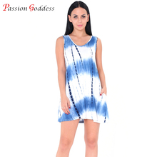 New Plus Size Women 2017 Summer Casual Tank Dress O neck Sleeveless Tie Dye Print Dresses With Pocket Female Ladies Short Dress