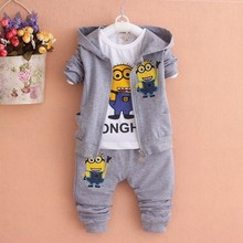 2017 Boys Clothing Set Despicable Me Cotton Minion Clothing Sets Unisex Sport suit 3pcs Coat+T shirt+pants baby boys girls cloth(China)
